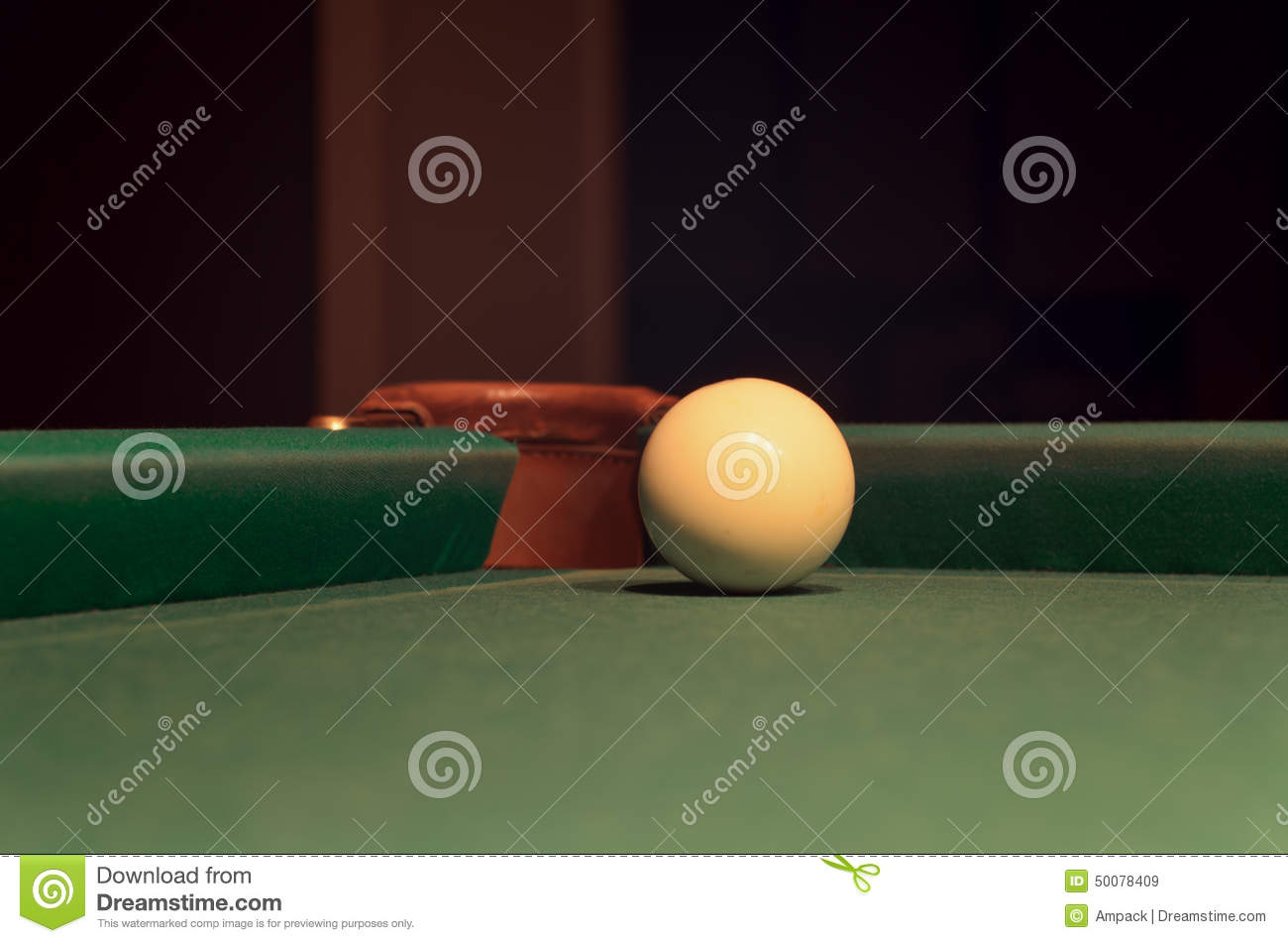 White Pool Ball On Billiard Table Near The Hole Stock Image Image - Pool table near by