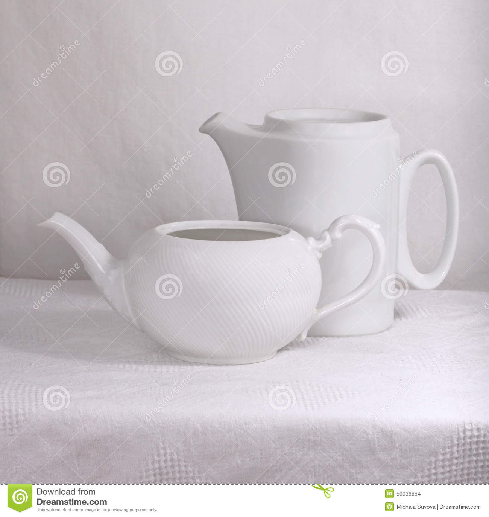 White porcelain pots