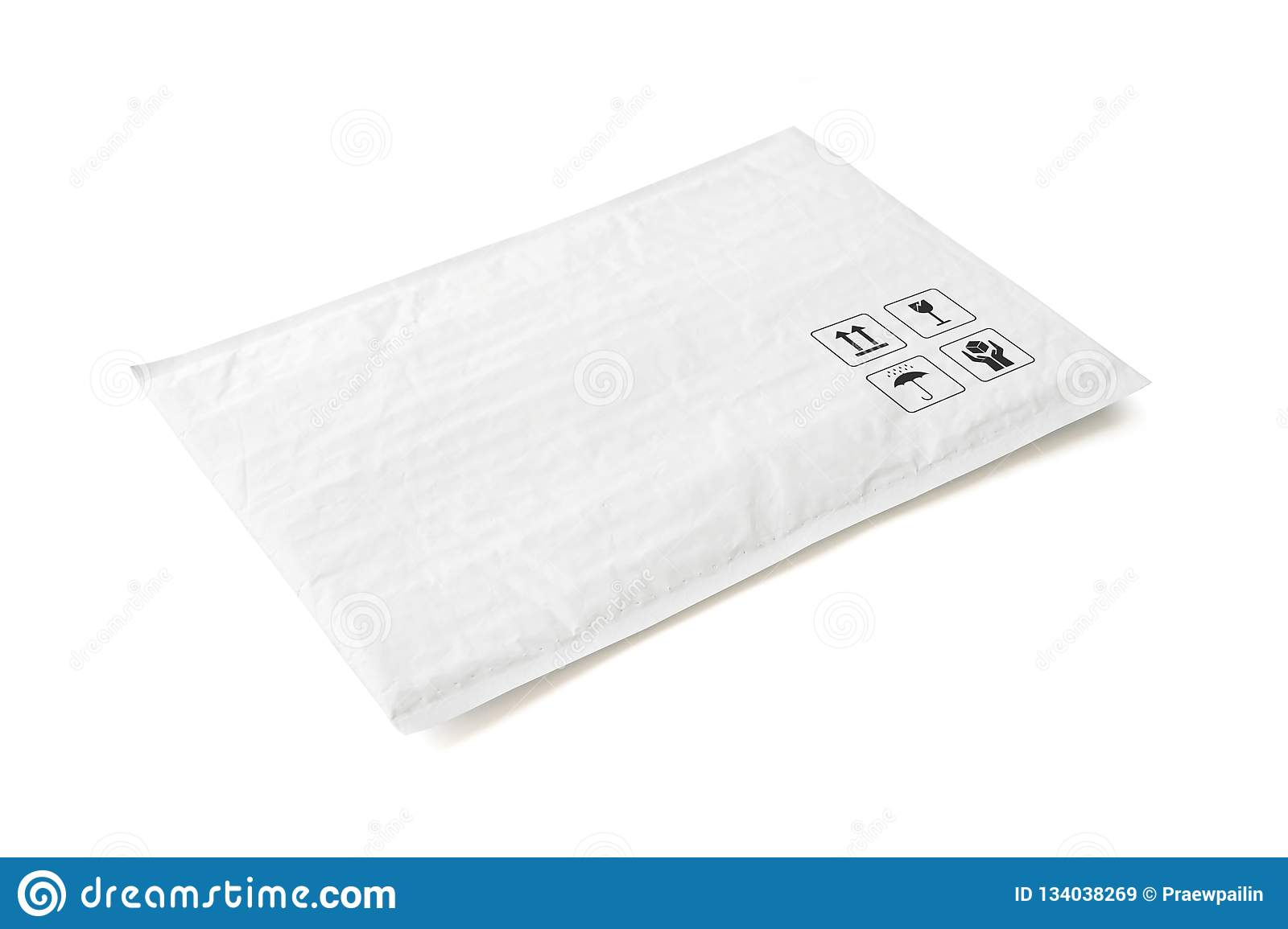 White postal package. Plastic parcel with fragile care sign and symbol. Object isolated on white background