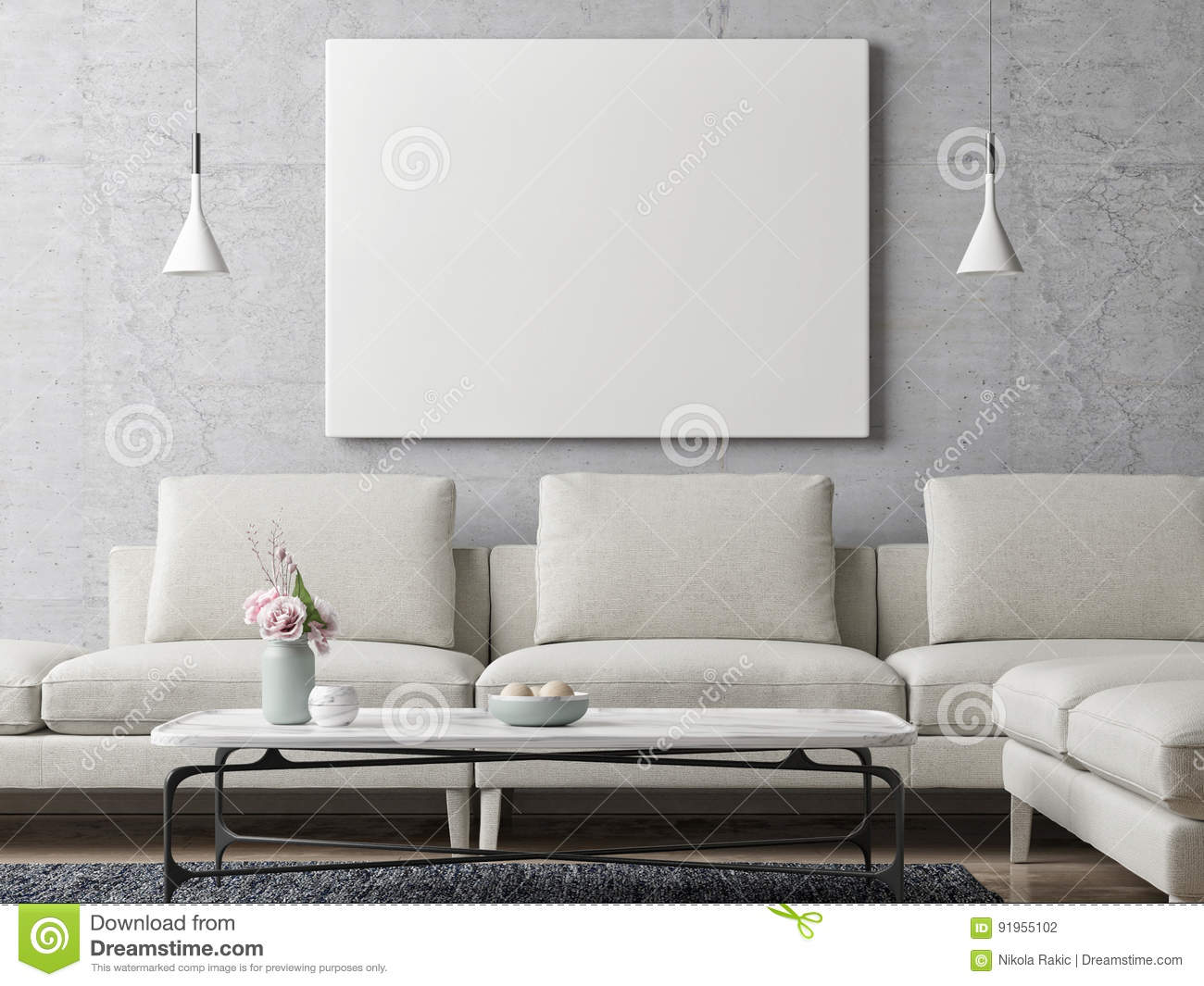 White Poster On Concrete Wall Living Room Background Stock Illustration