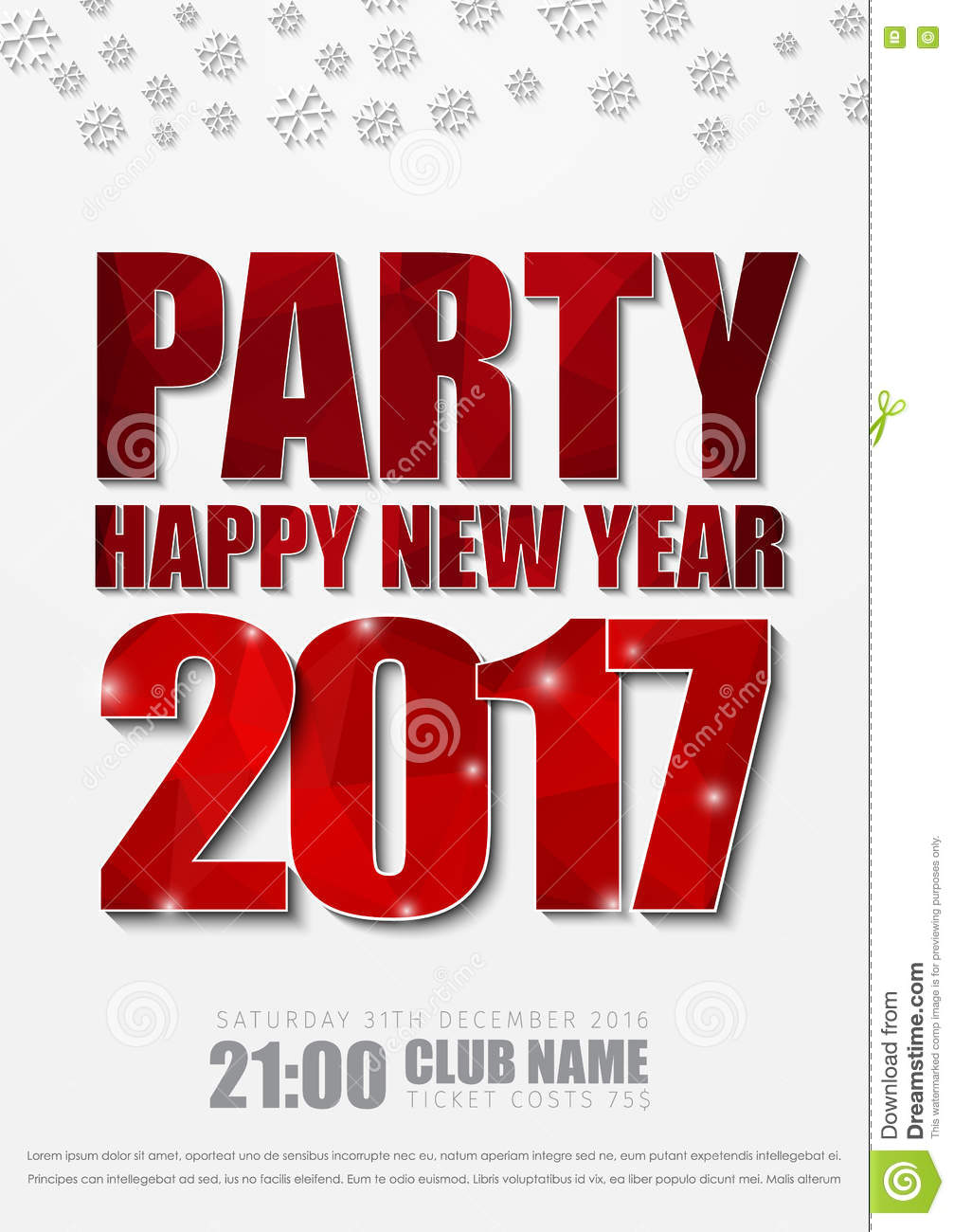 white poster design for new years party in 2017