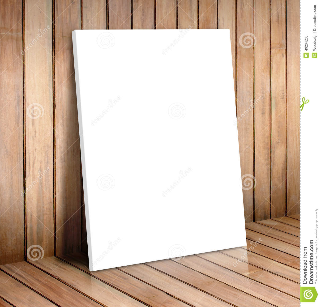 white poster frame in wooden roommock up for your content