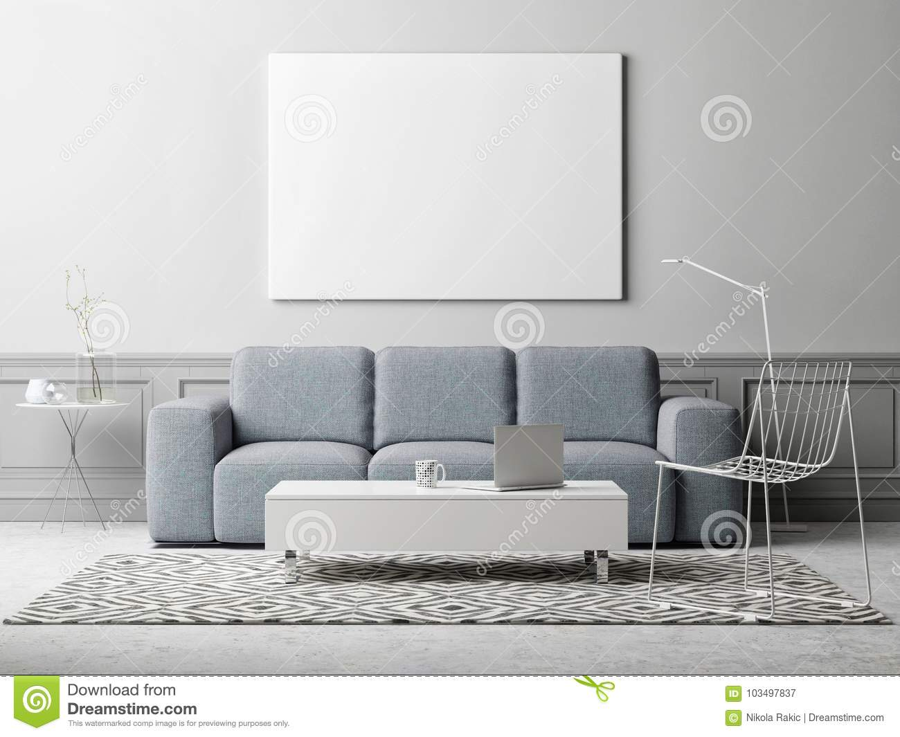White Poster In Living Room, Scandinavian Design, 3d Illustration ...