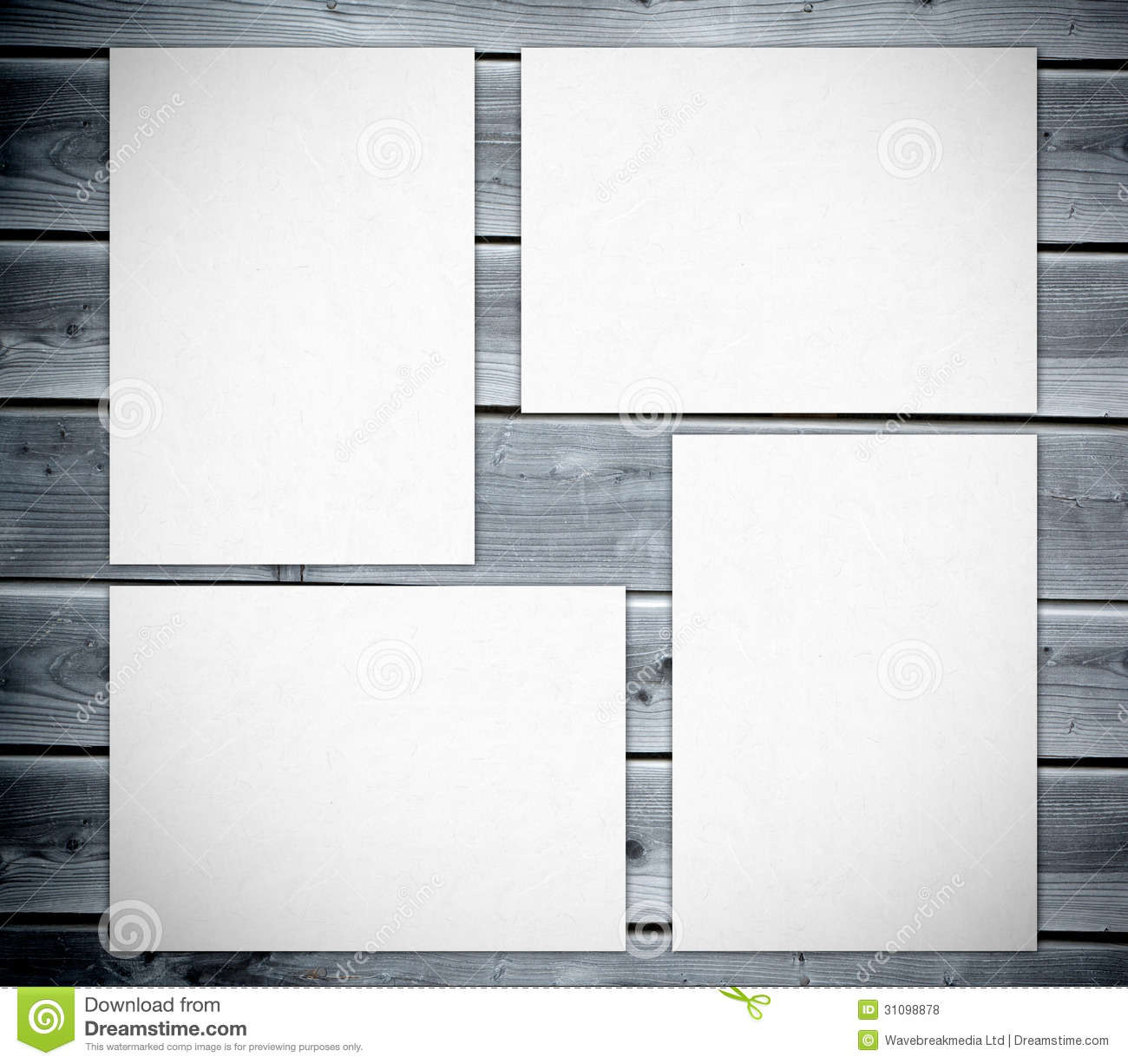white posters against wooden boards royalty free stock