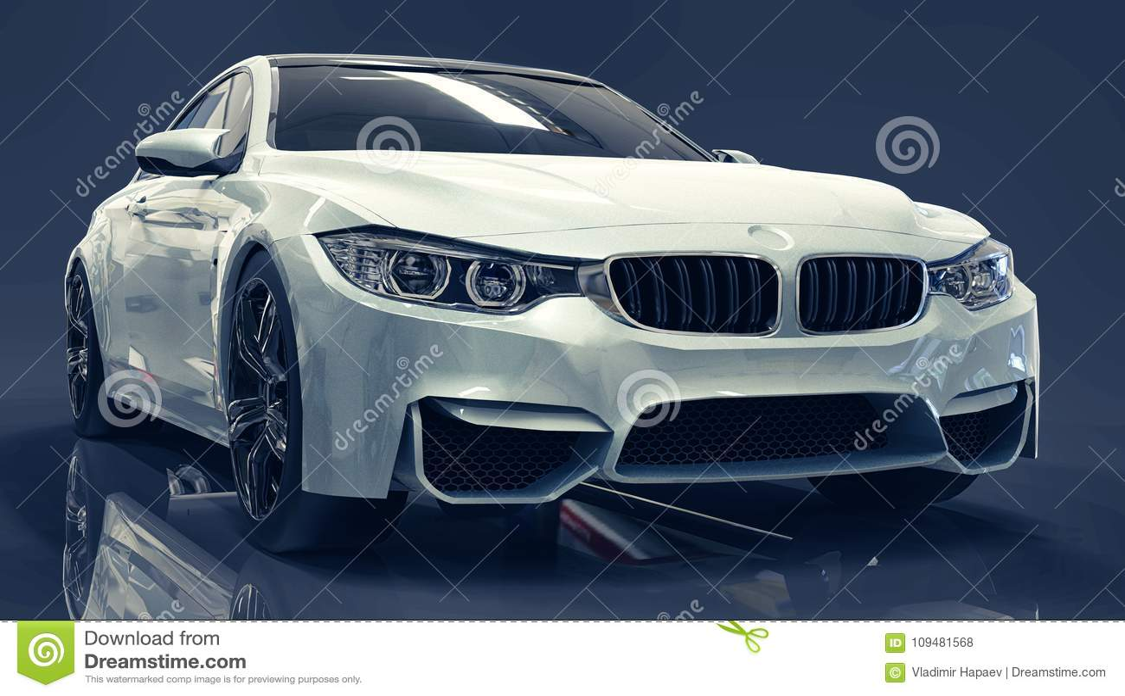 White Premium Bmw Car Three Dimensional Illustration On A Dark Blue