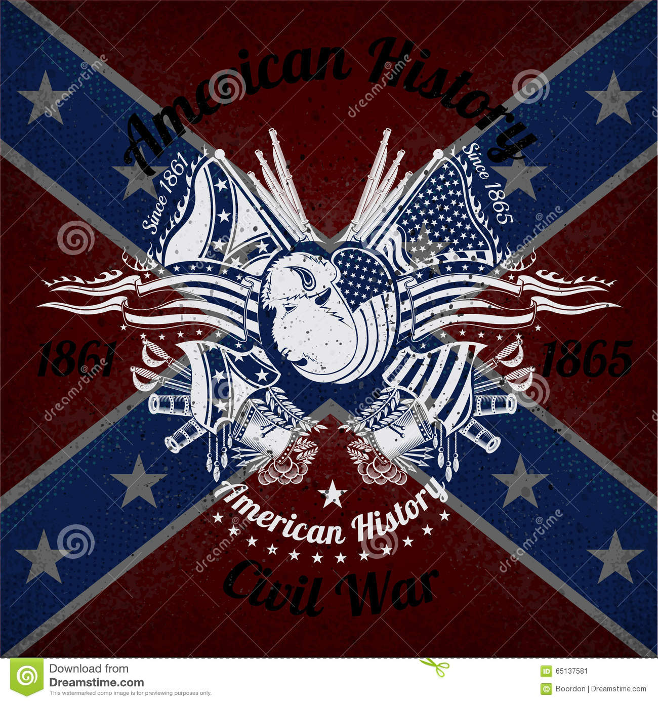 white print with bison head and vintage weapons on confederate flag