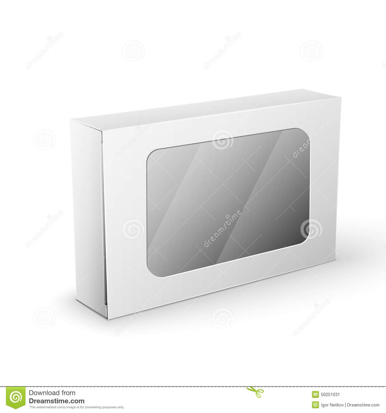 White Product Package Box Mock Up Template Stock Vector