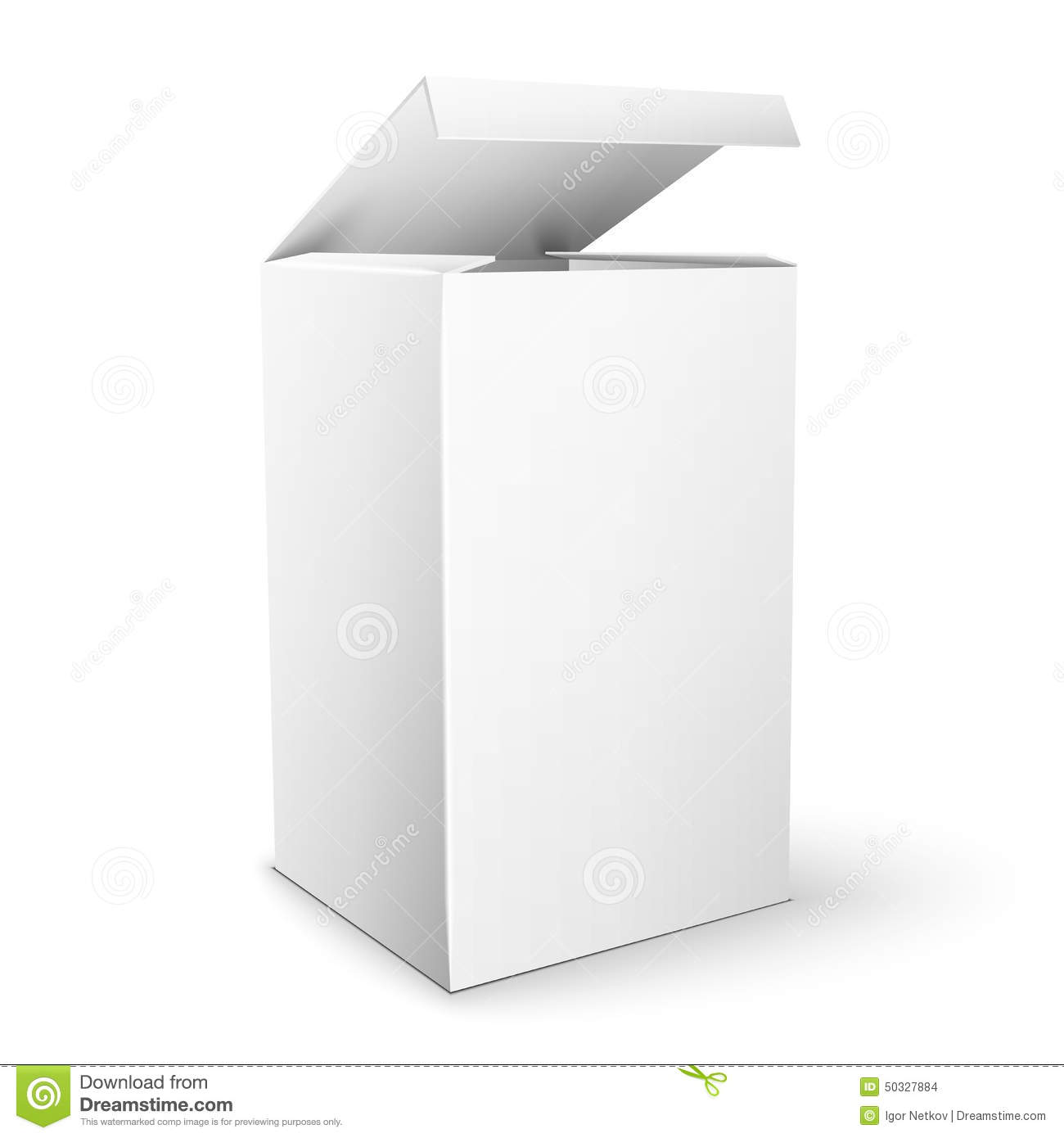 White Product Cardboard rectangular Package Box. Illustration Isolated ...