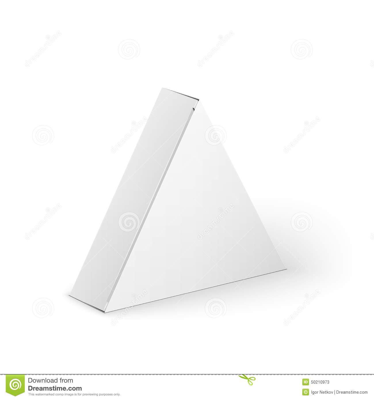 white product triangle package box mock up stock vector