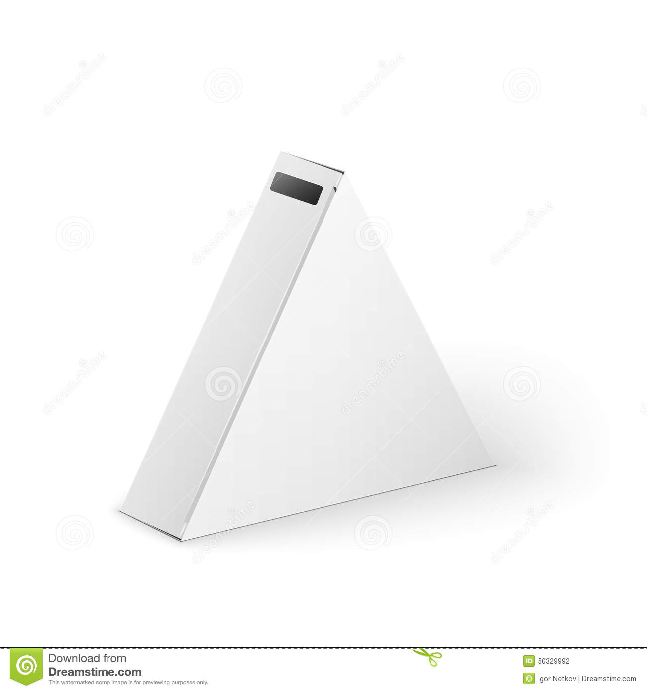 White product triangle package box mock up stock for Triangle packaging template