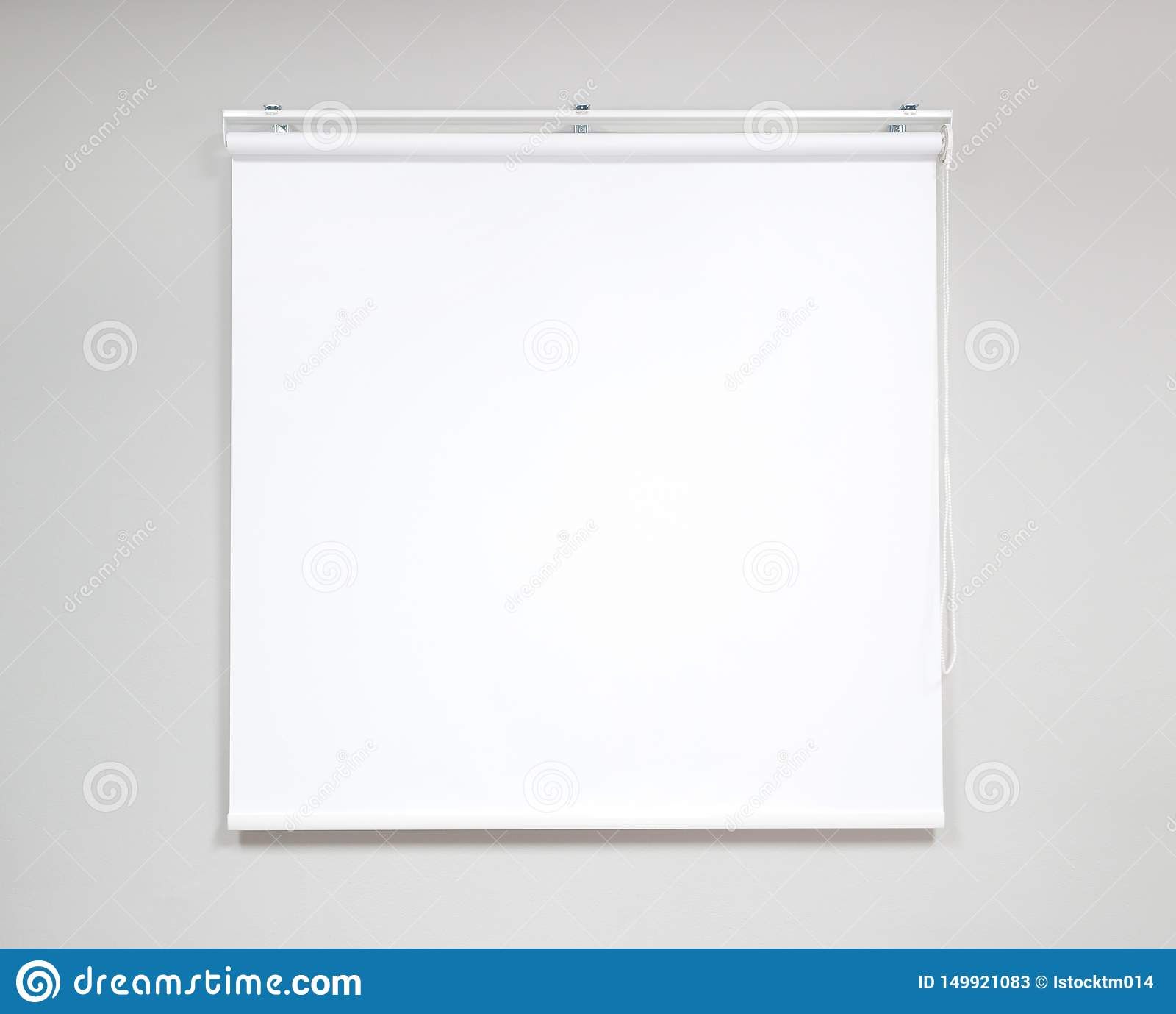 White projector screen for showing information or cinema in office room