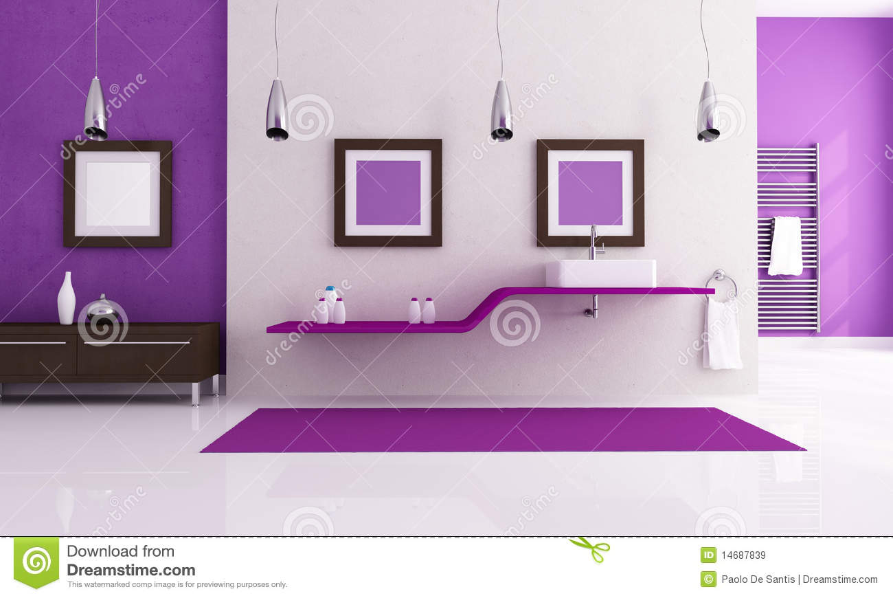 White And Purple Bathroom Stock Illustration Image Of