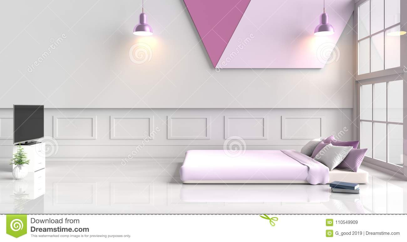 White-purple Bedroom Decorated With Purple Bed Stock ...