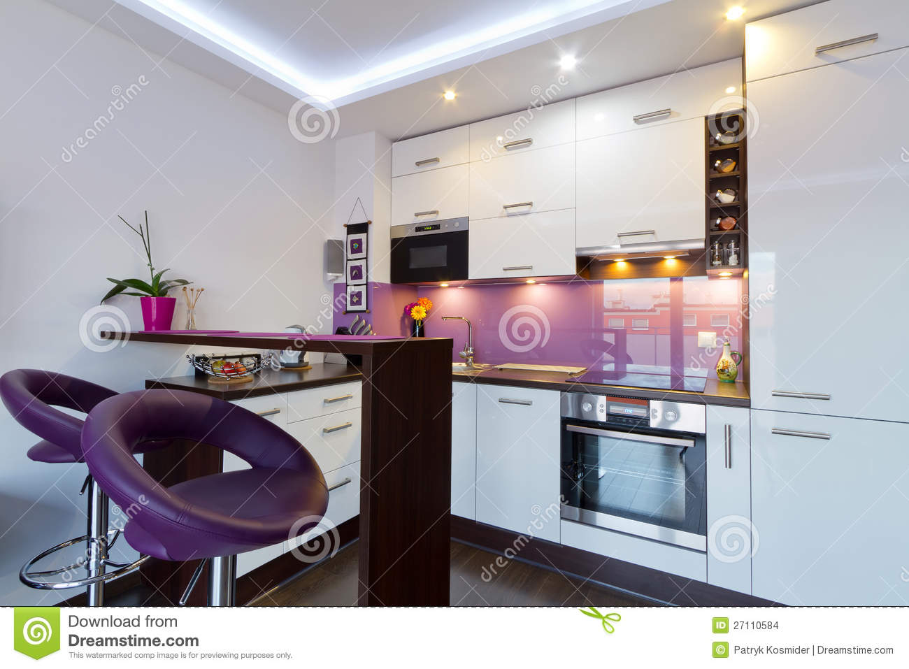 Purple Kitchen Purple Kitchen Stock Photography Image 17456672