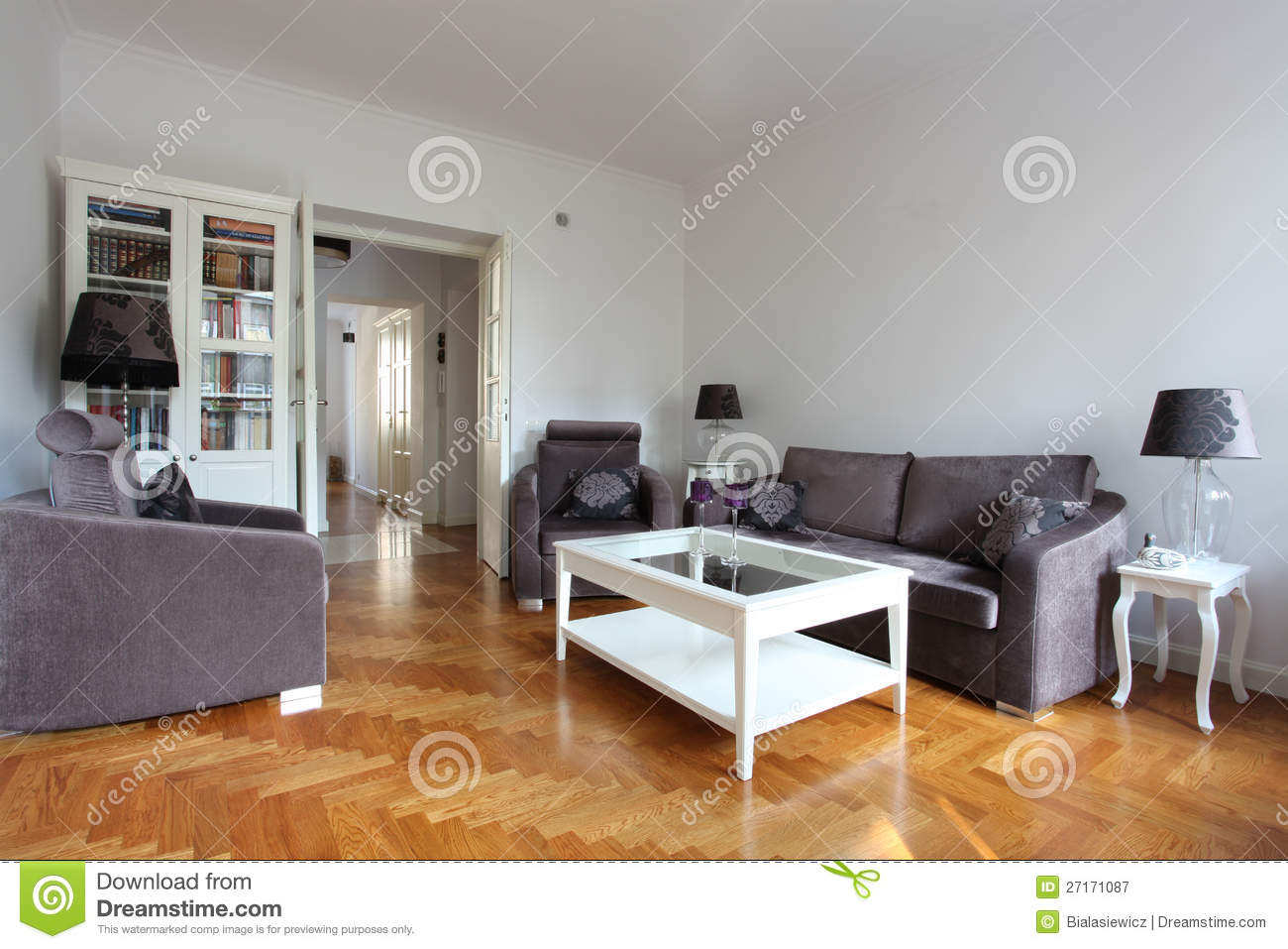 White And Purple Living Room Stock Image Image Of