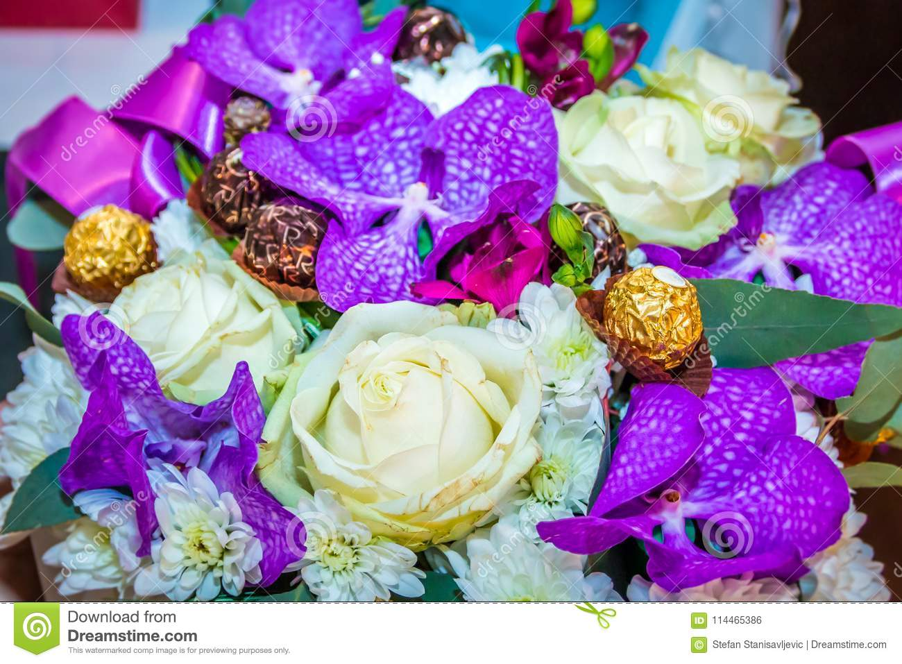 White And Purple Wedding Bouquet Stock Photo Image Of Engagement