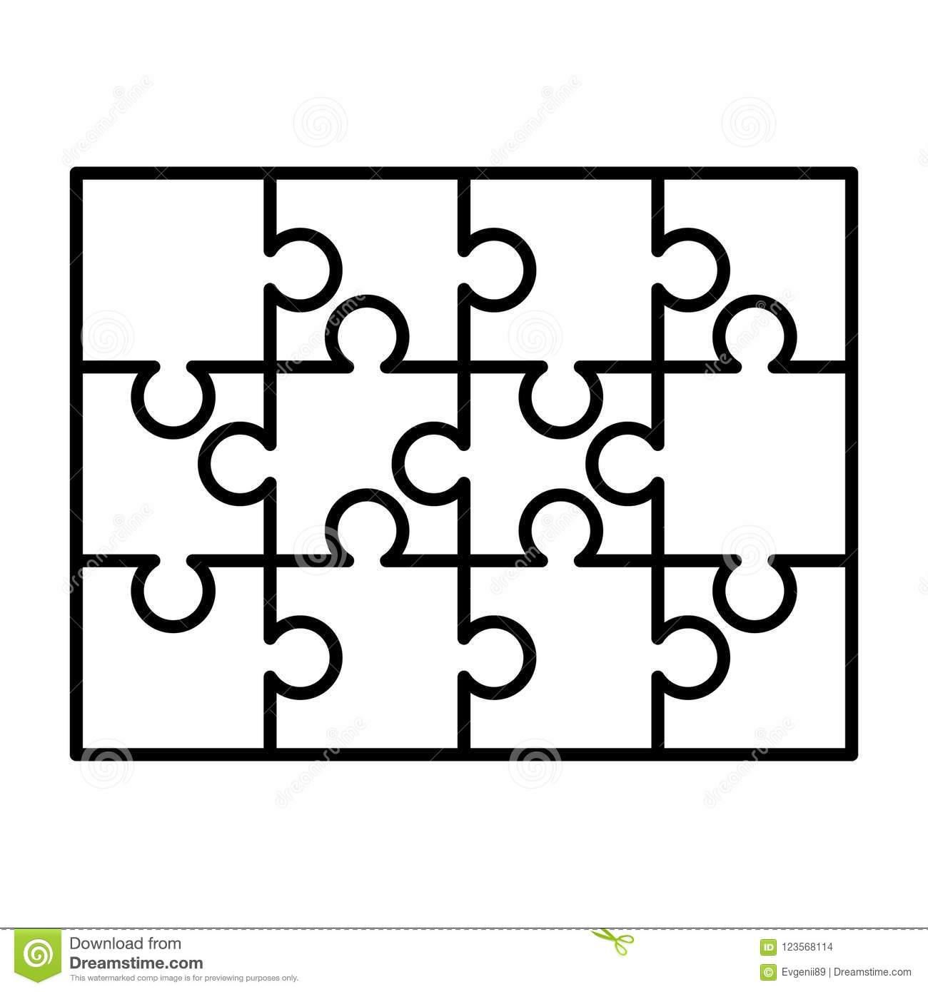 image relating to Printable Puzzle Template identified as 12 White Puzzles Components Organized Within A Rectangle Condition