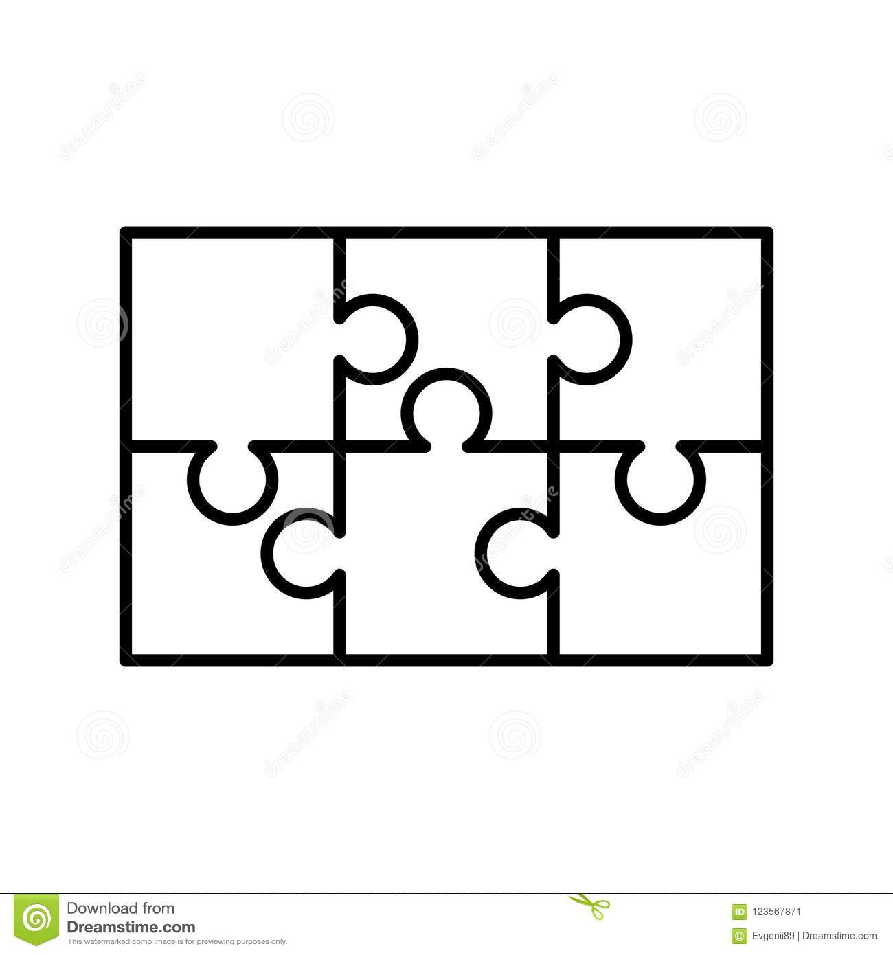 picture regarding Printable Puzzle Piece known as 6 White Puzzles Areas Organized Inside of A Rectangle Form. Jigsaw