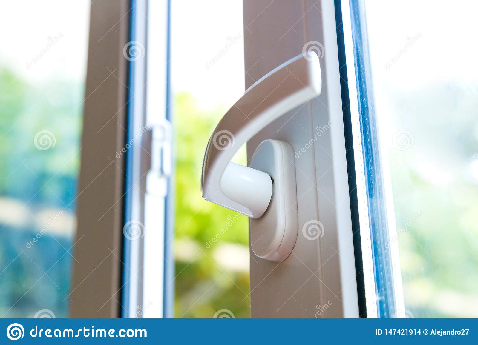 White Pvc Sliding Door And Double Glass Stock Photo Image Of Green Handle 147421914