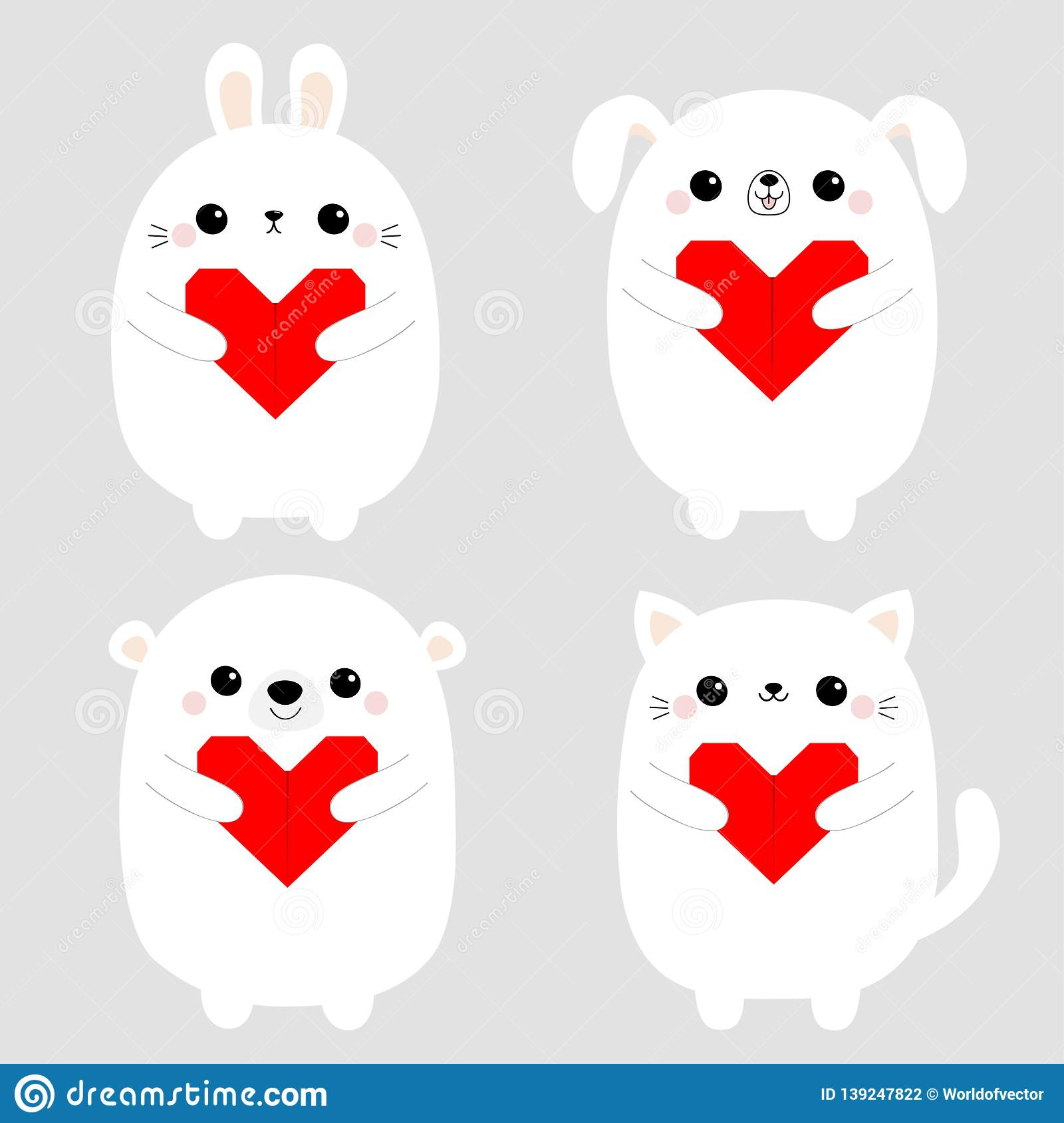White rabbit cat kitten hare bear dog puppy head face set holding red origami paper heart. Happy Valentines Day. Cute cartoon
