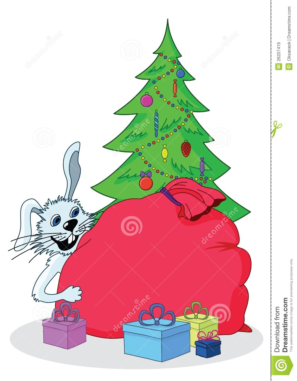 White Rabbit Christmas Tree And Gifts Stock Vector Illustration