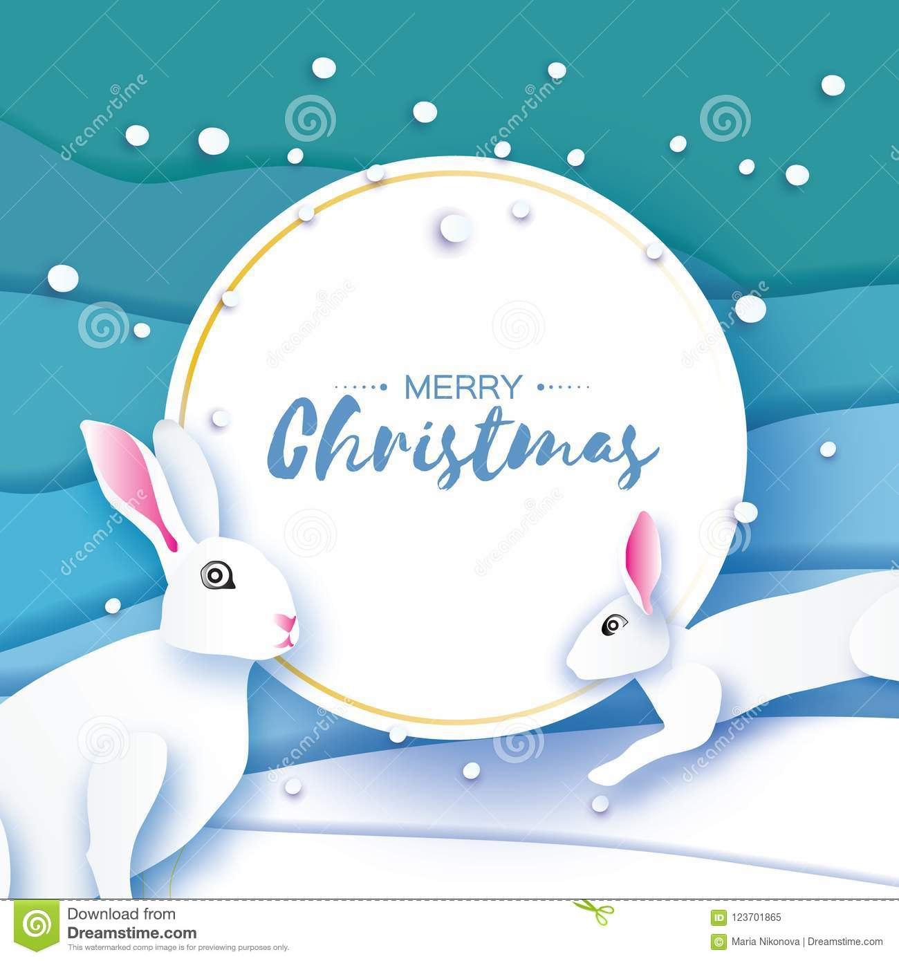 White Rabbit. Little Bunny In Paper Cut Style., Happy New Year And ...
