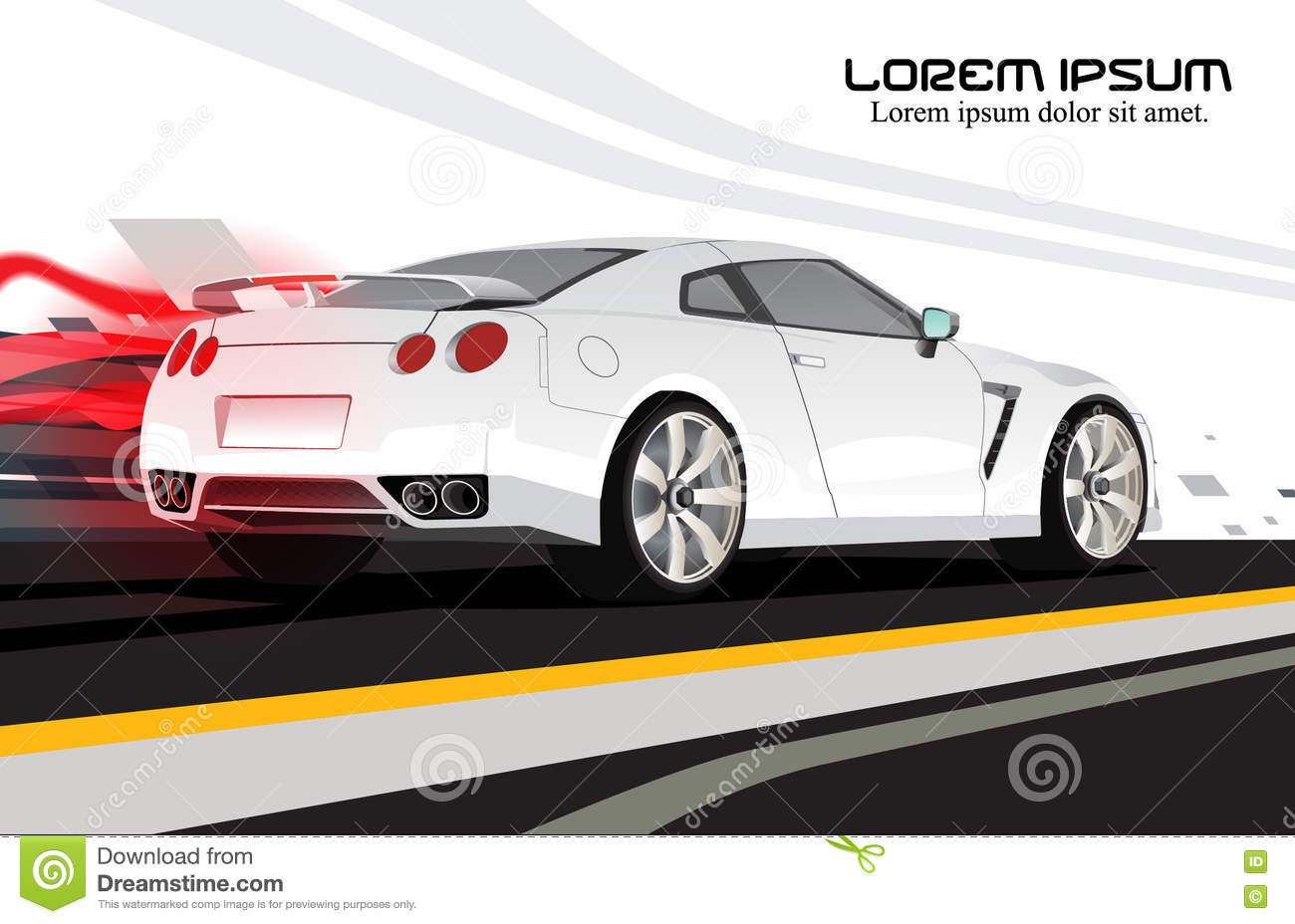 white racing car vector tail light background stock vector