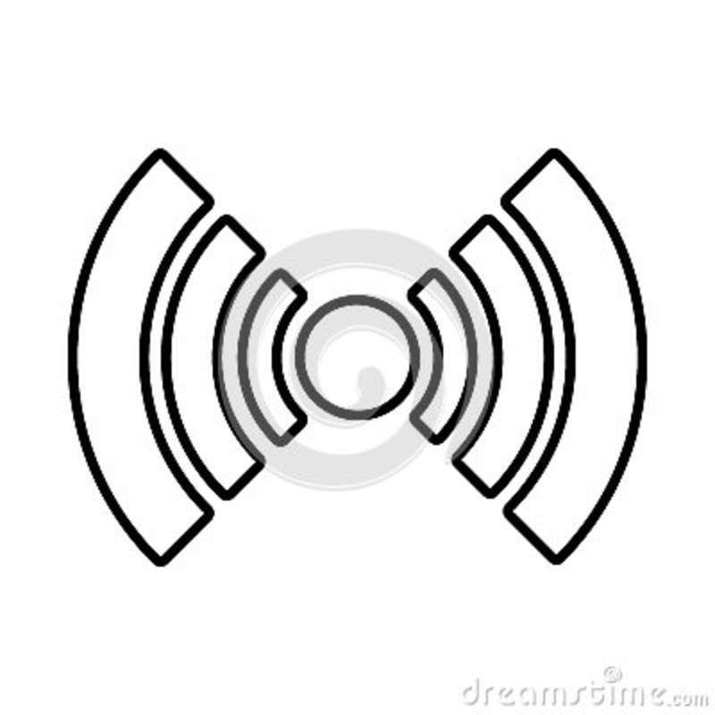 White Radar Icon With Circle And Stripes Graphic Stock Illustration