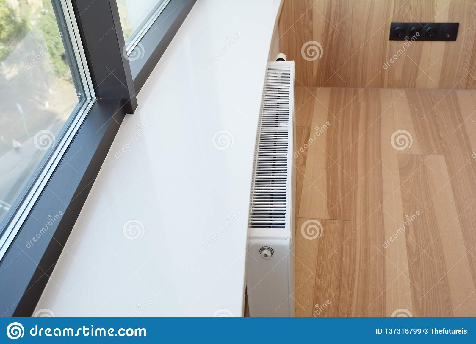White Radiator Heating With Thermostat And Window Sill Stock Image Image Of Modern Thermostat 137318799