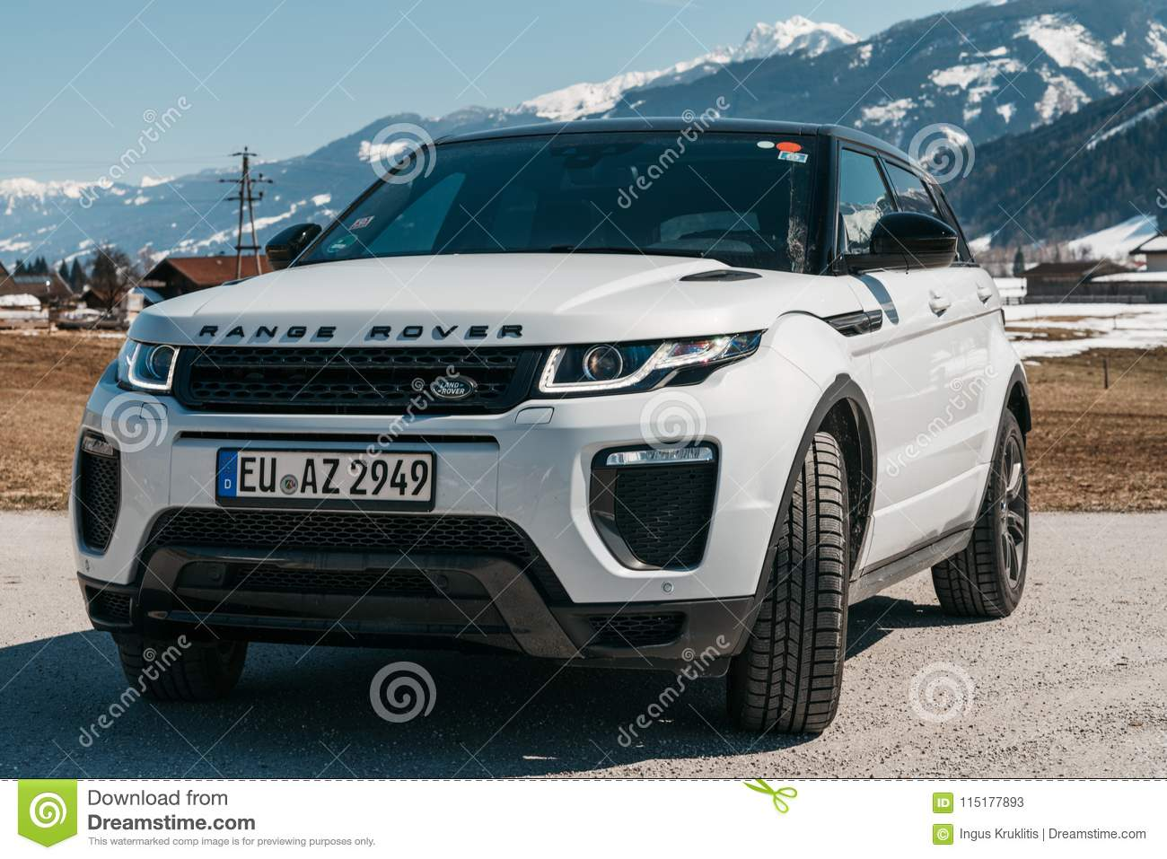 White Range Rover Evoque Austria Alps Editorial Stock Photo