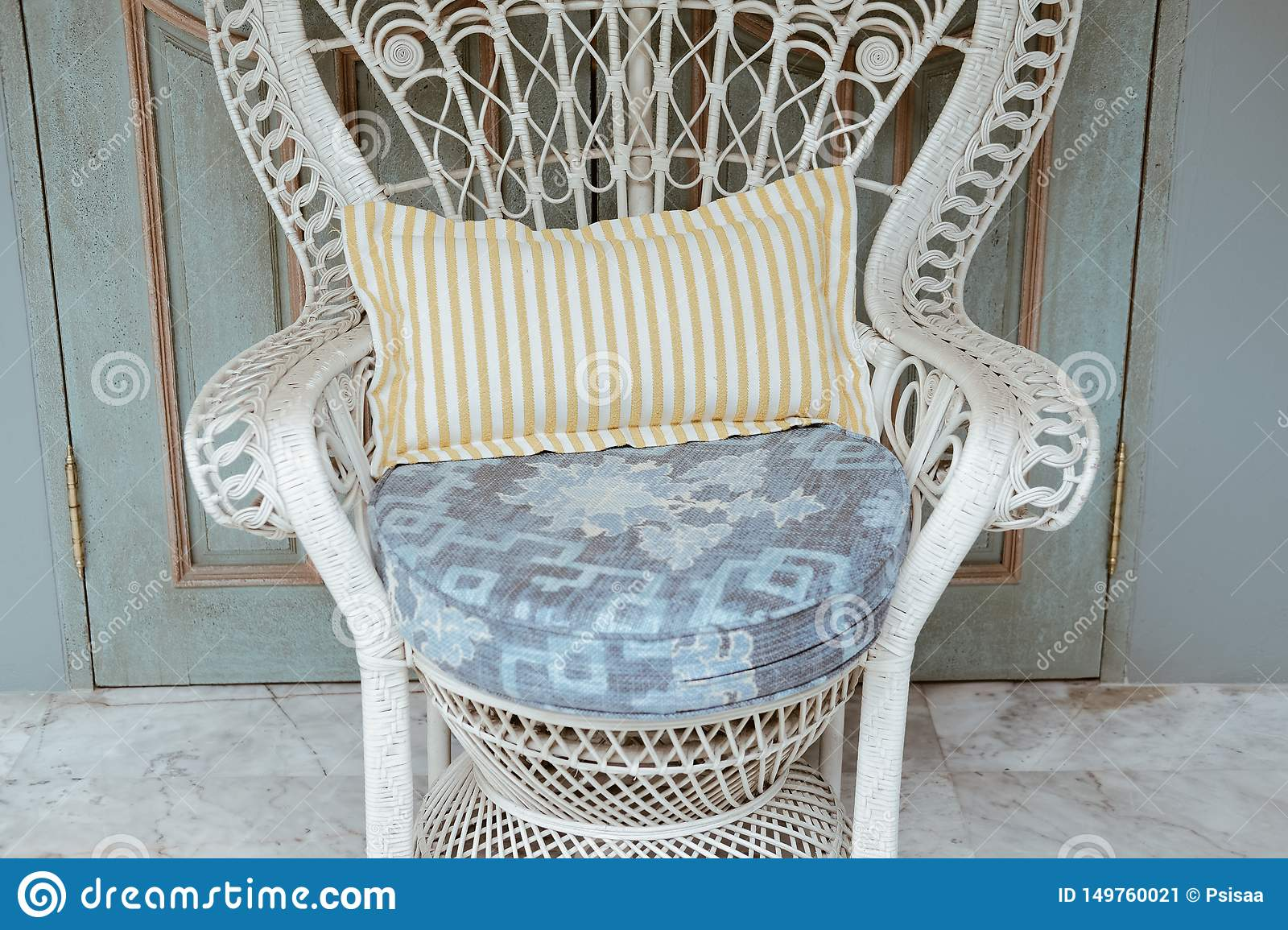 White Rattan Chair In Terrace Balcony Living Design For Home Interior Stock Image Image Of Cushion Relax 149760021