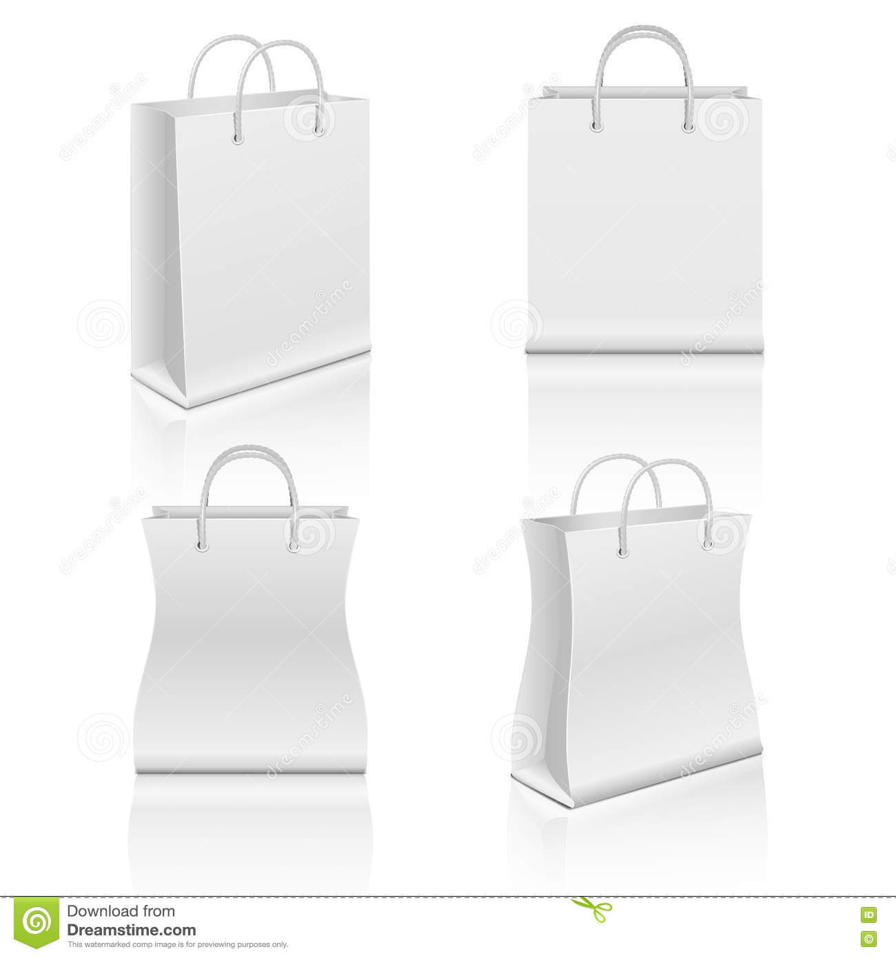 White Realistic Blank Paper Shopping Bags Vector Set Stock ...White Paper Bag Vector