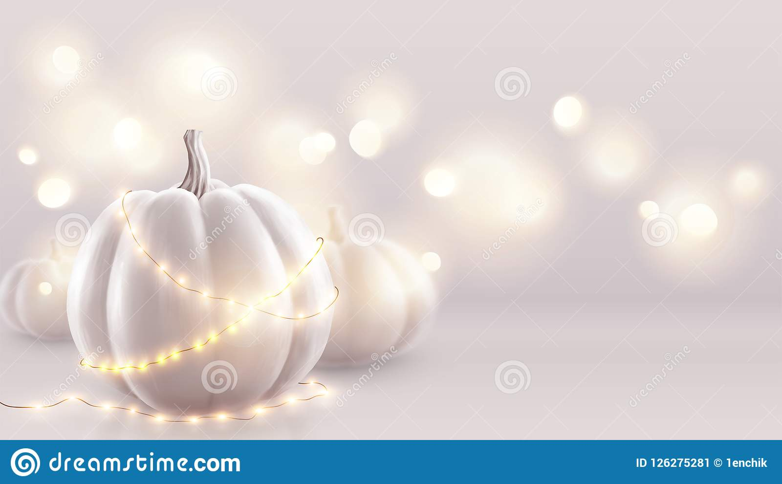 White Realistic Pumpkins And Warm Lights Vector Greeting Card