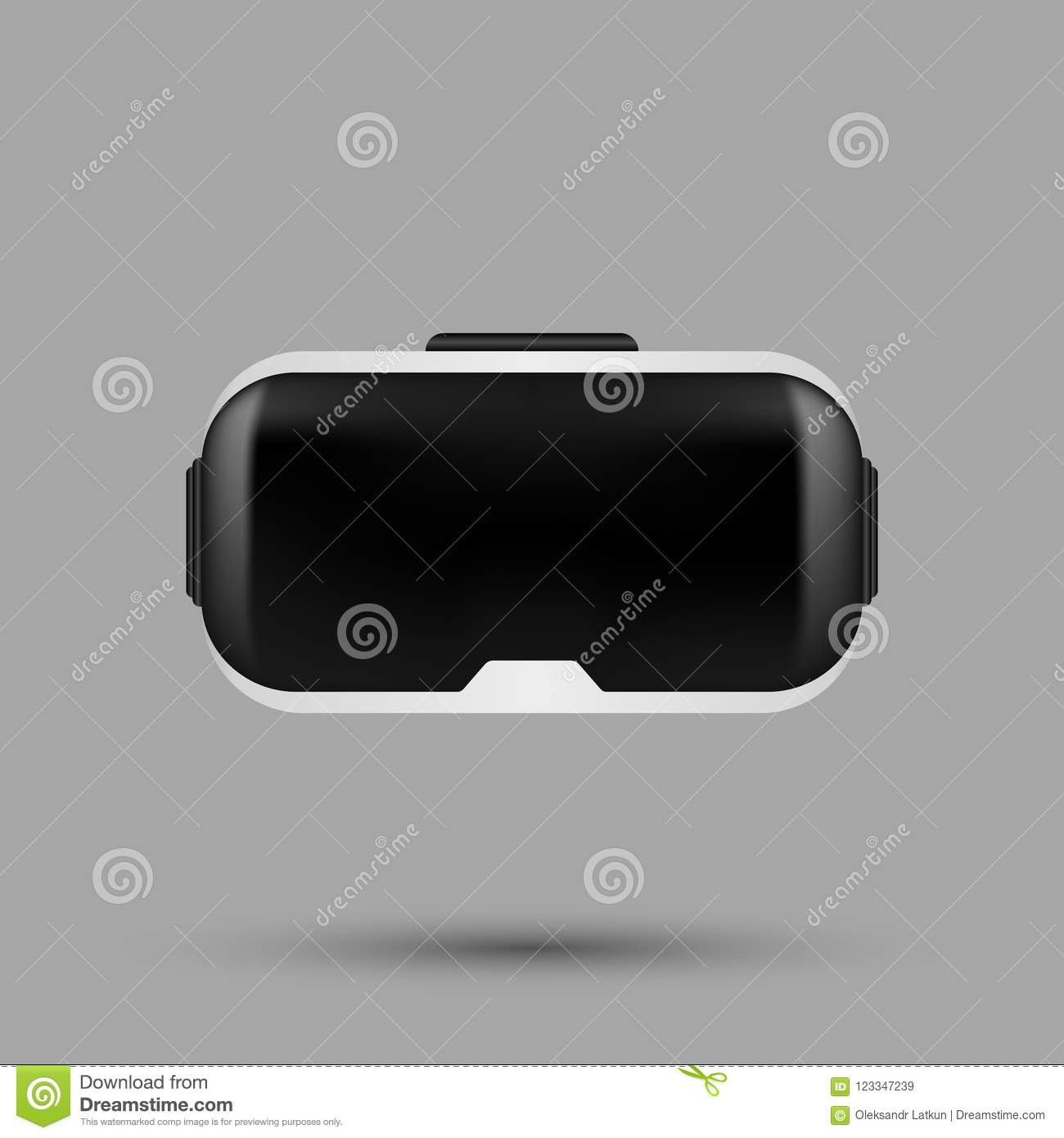 490aaa3e5ed1 White realistic VR virtual reality glasses. VR gaming headset illustration  for apps