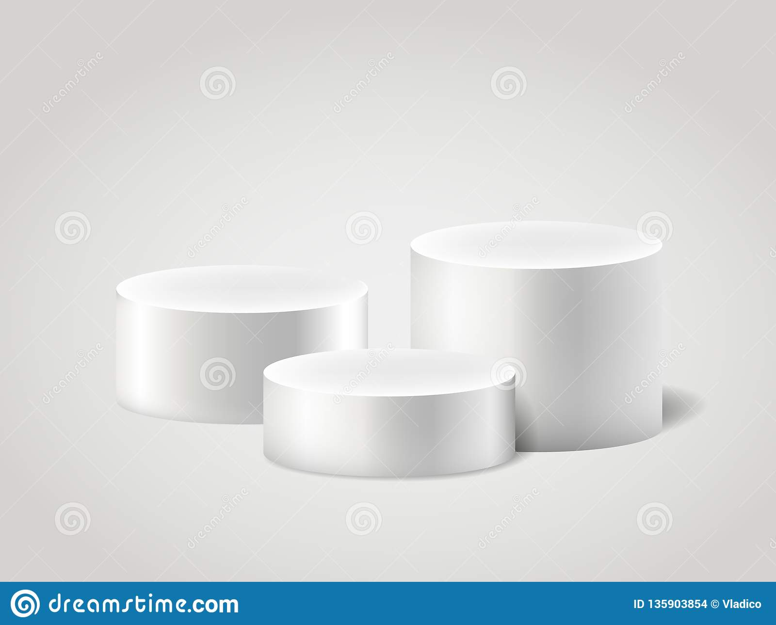 White realistic ylinder and pedestal, scene empty stand. 3D cylinder vector set. Circle, podium and stand circular