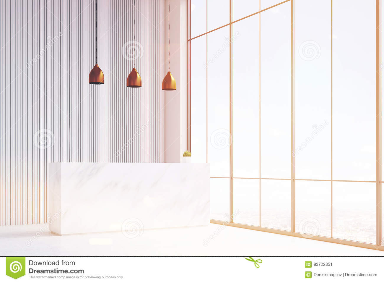 White Reception And Open Office Stock Illustration