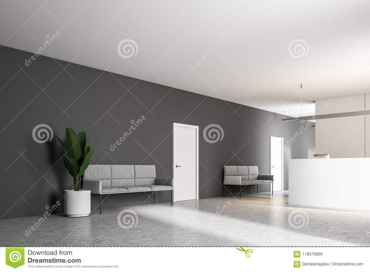 Gray Couches In An Office Reception Lobby Stock Illustration ...