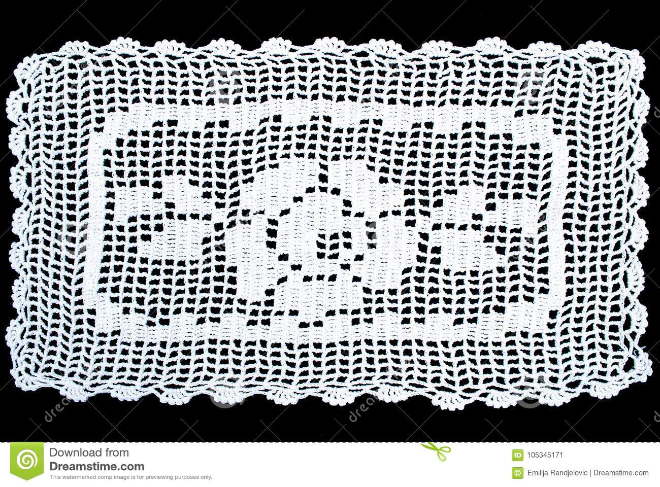 Rectangle Lace Tablecloth Isolated On Black Background Stock Image ...