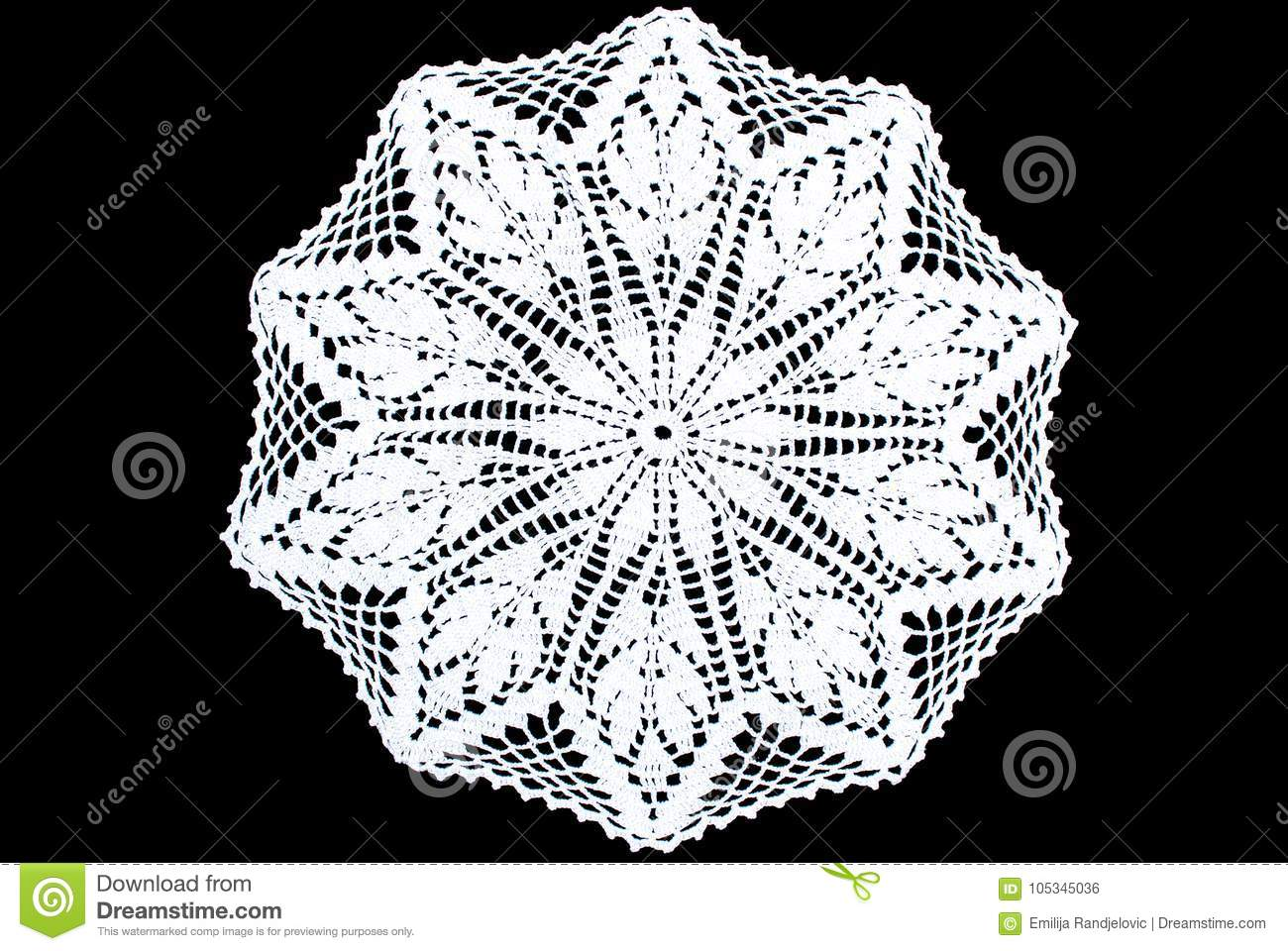 White Rectangle Lace Tablecloth Isolated On Black Background, Star ...