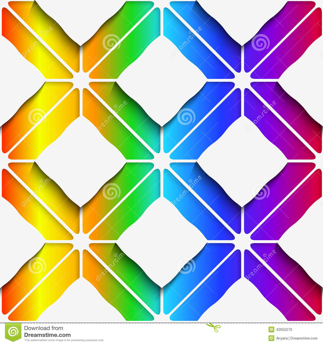 White rectangles ornament on rainbow background seamless pattern