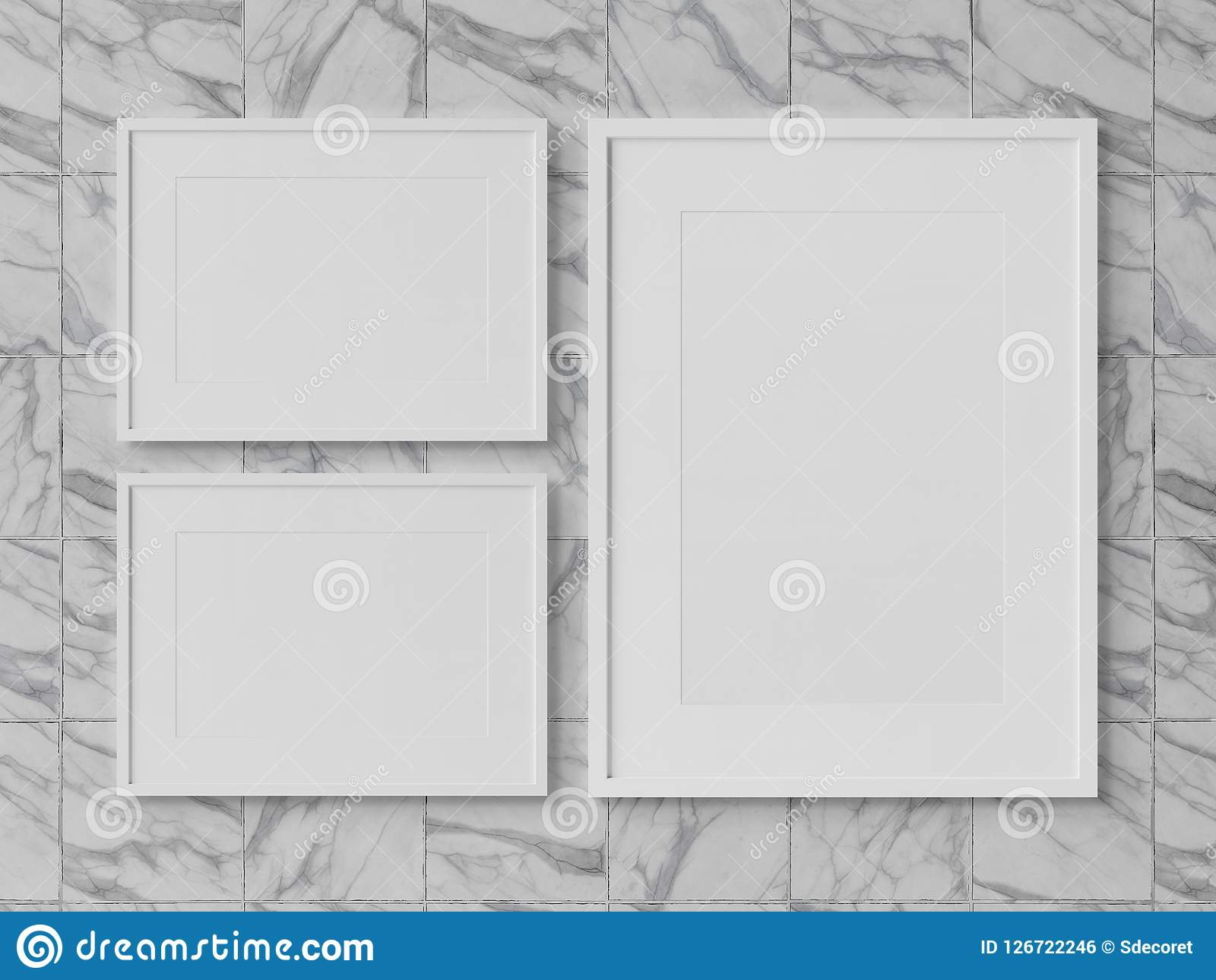 White Rectangular Frames Hanging On A Marble Wall Mockup 3D Rend ...
