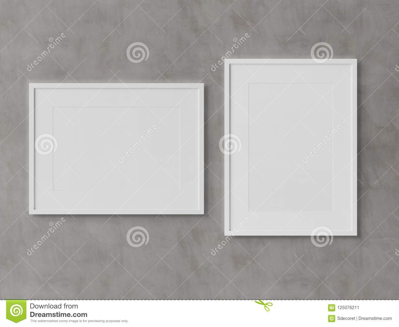 White Rectangular Frames Hanging On A White Wall Mockup 3D Rende ...