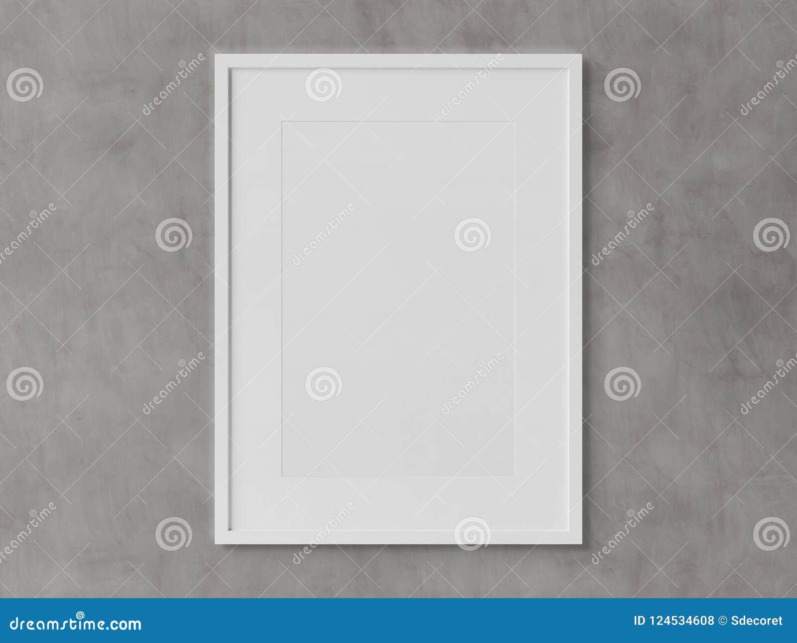 White Rectangular Vertical Frame Hanging On A White Wall Mockup ...
