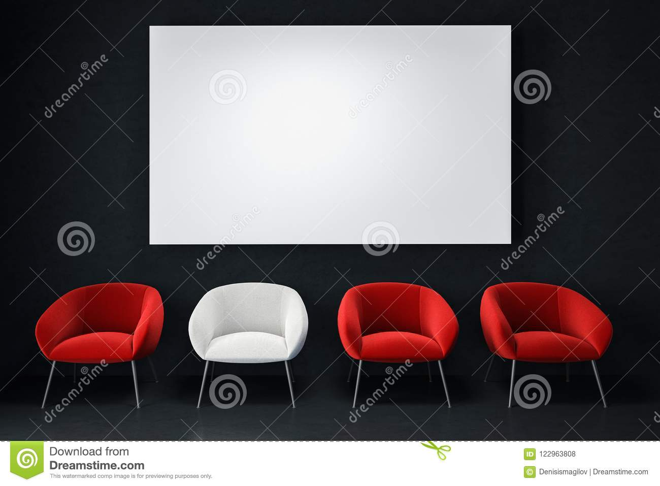 Download White And Red Armchairs, Empty Black Room, Poster Stock  Illustration   Illustration Of