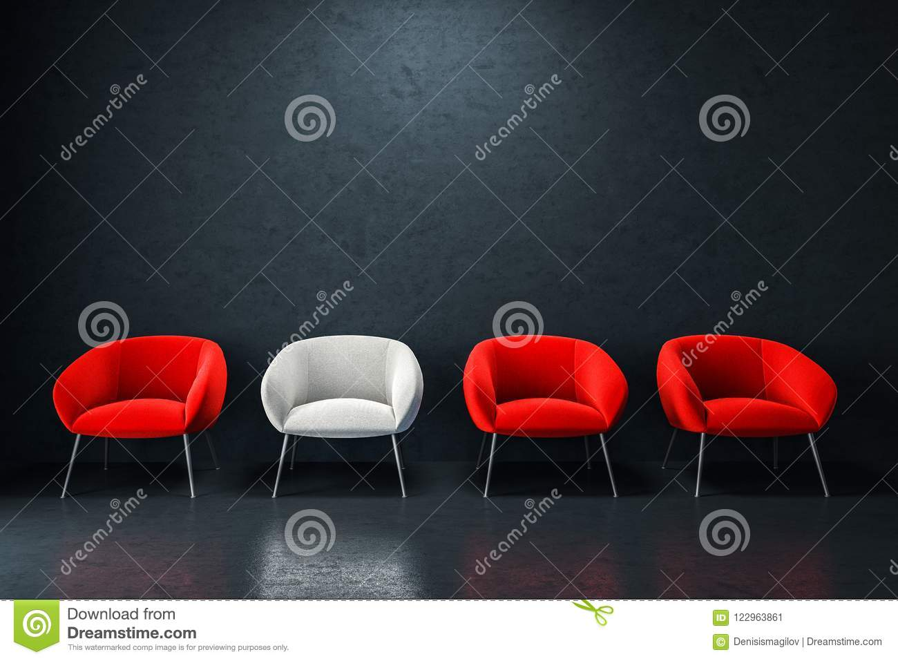 Download White And Red Armchairs In Empty Black Room Stock Illustration    Illustration Of Meeting,