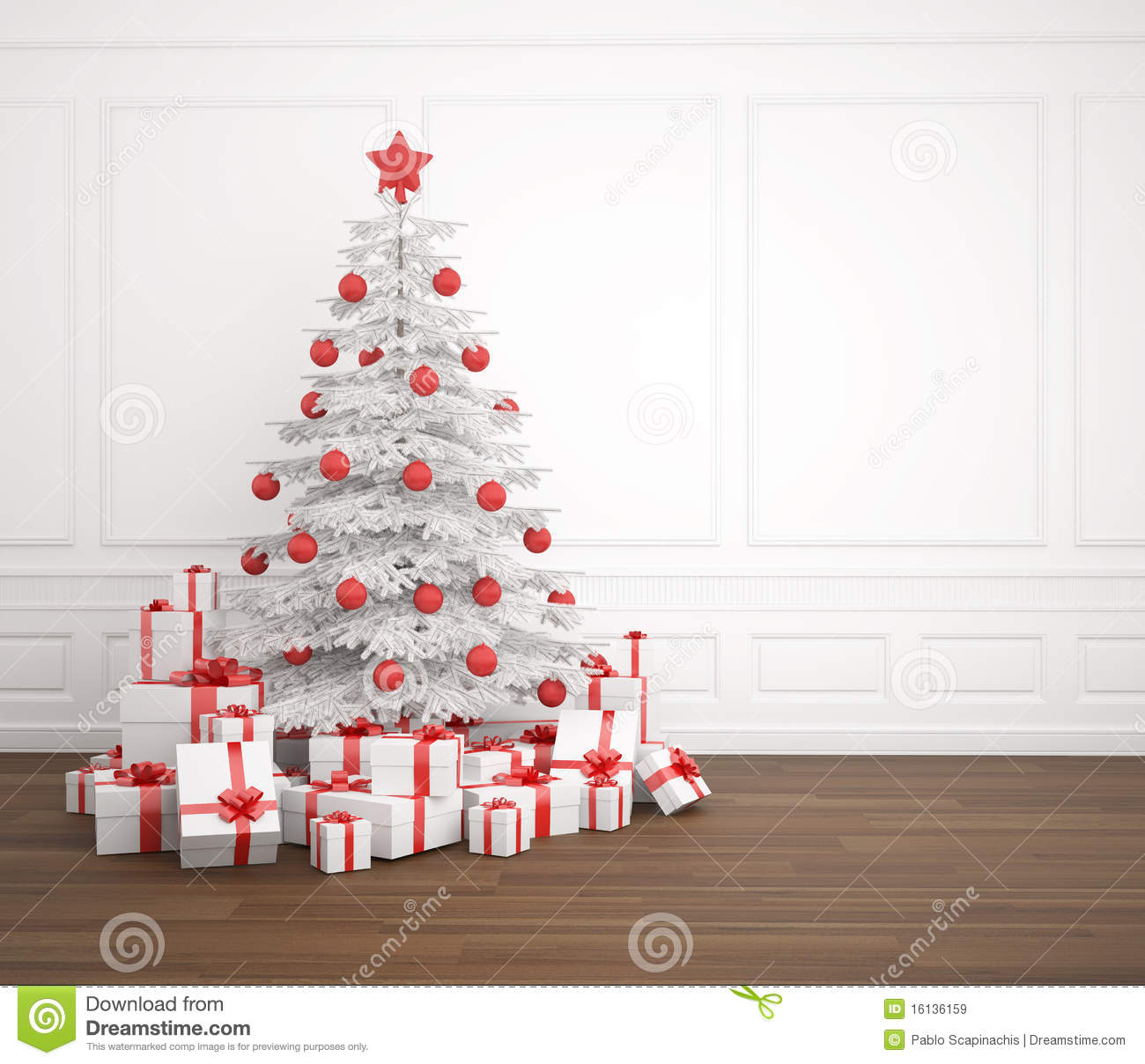 White christmas tree with red decorations - Christmas Copy Decorated Empty Pile Presents Room Space Tree White