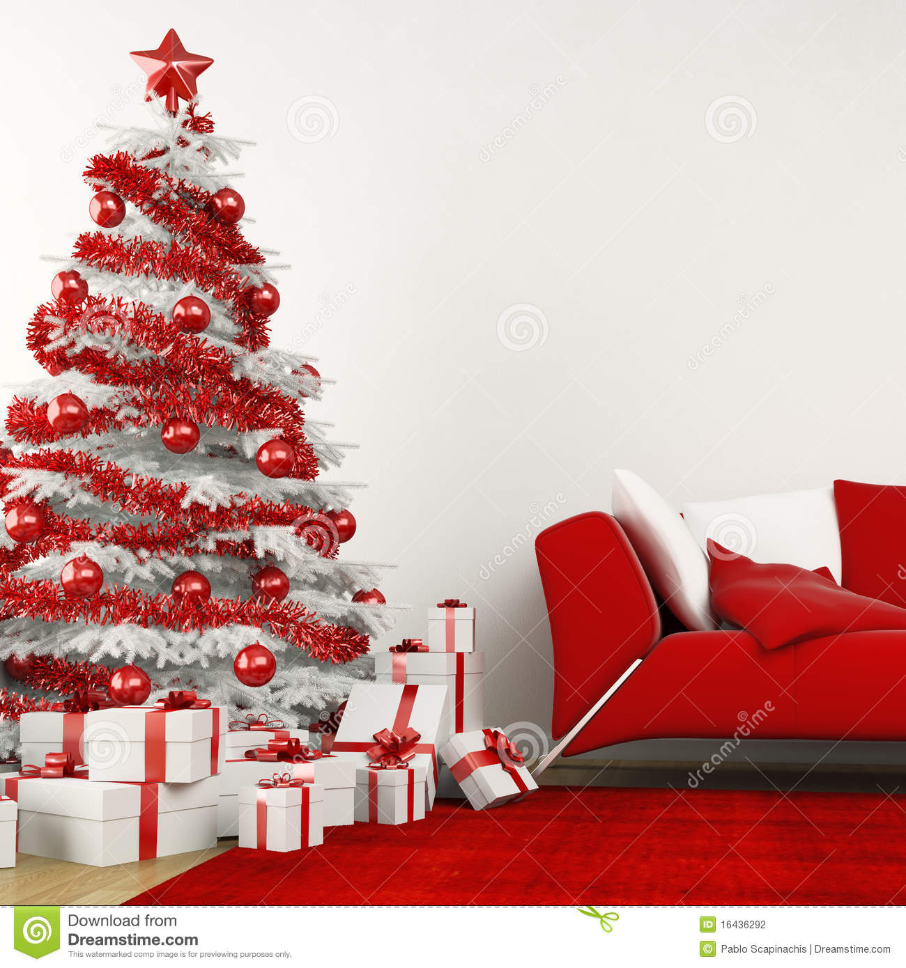 White And Red Christmas Tree Stock Photography Image