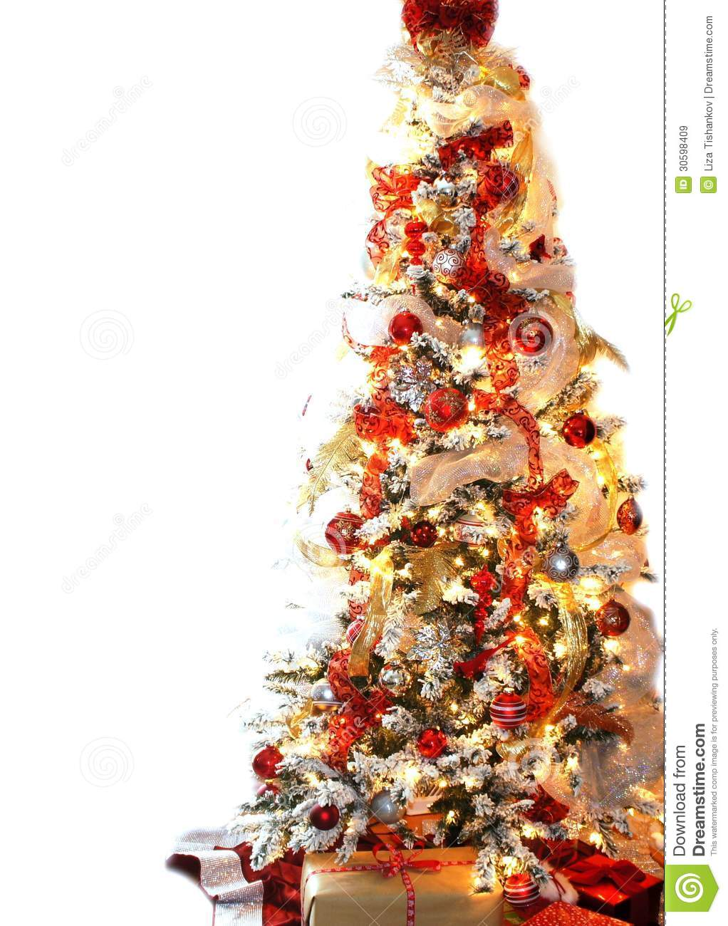 White And Red Christmas Tree Stock Image Image Of Celebrate