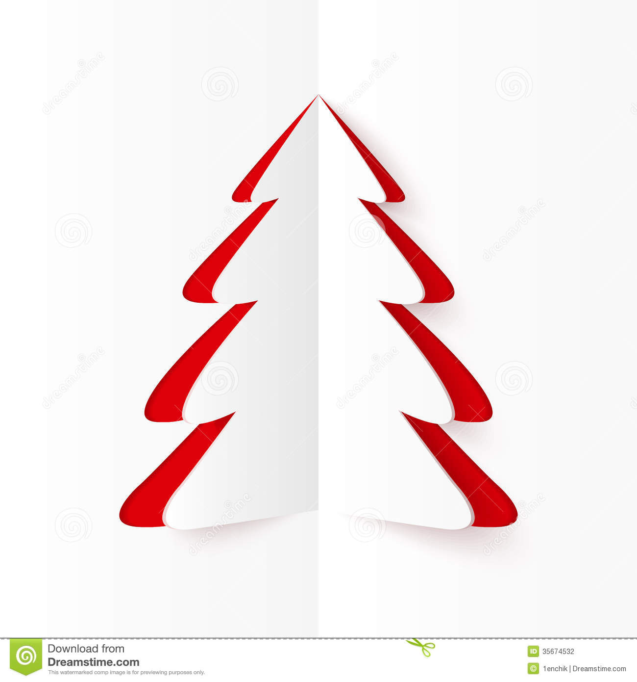 white and red cutout paper christmas tree stock photography white and red cutout paper christmas tree