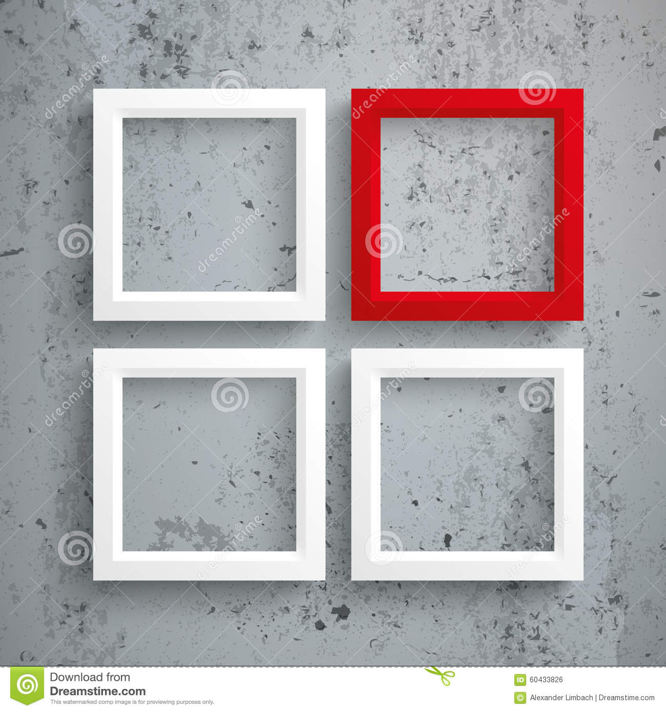 3 White 1 Red Frames Concrete Stock Vector - Illustration of ...